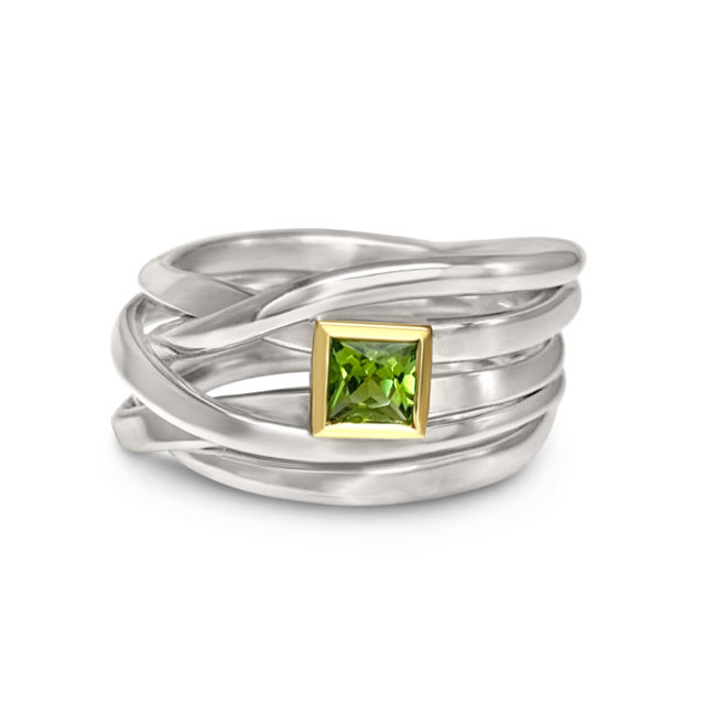 One of a Kind ring in Sterling Silver with Tourmaline Size 8