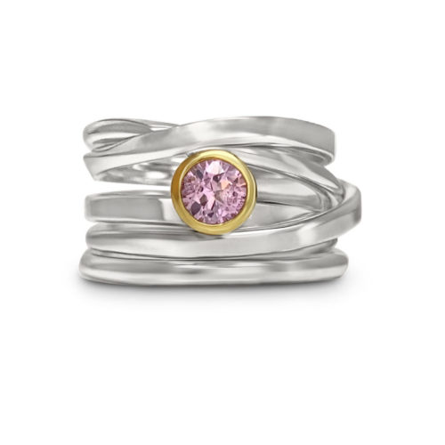 One-of-a-Kind #19 || Sterling Onefooter Ring with Pink Sapphire, Size 6.5