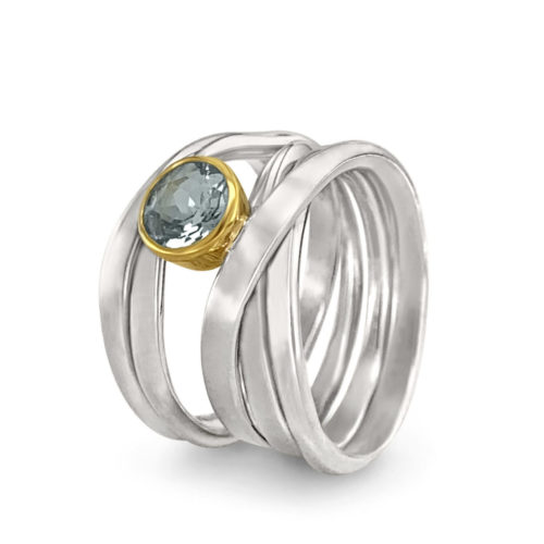 One of A Kind ring in Sterling Silver with Aquamarine Size 7.5