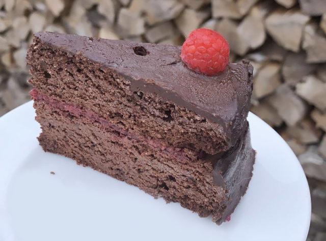 grainfree paleo chocolate cake with raspberries
