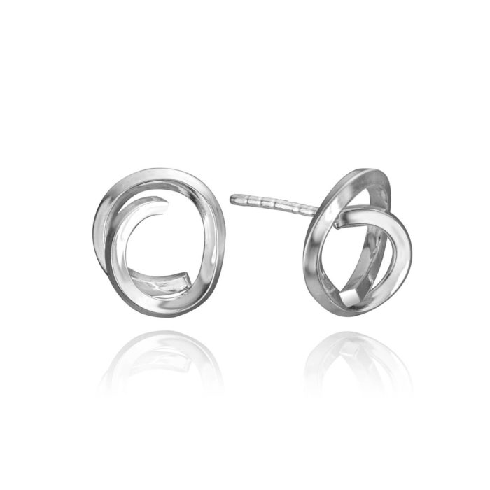 Handmade Knot Earrings in Sterling Silver Large