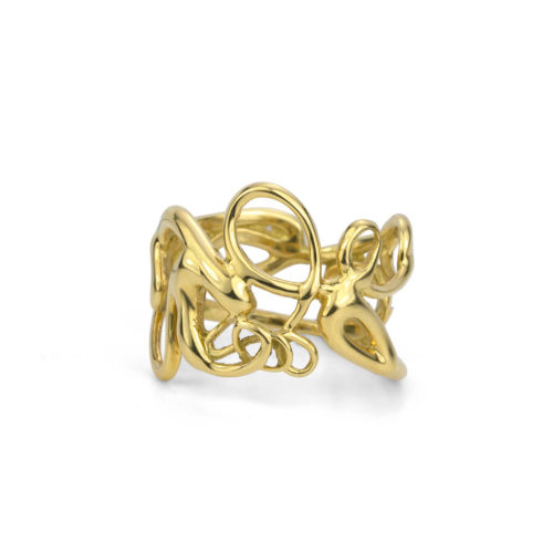 Handmade Script Ring in 18K Yellow Gold