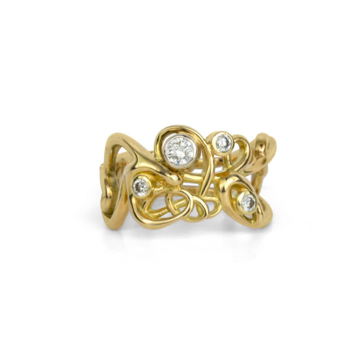 One-of-a-Kind Handmade Script Ring in 18K Gold with Diamonds