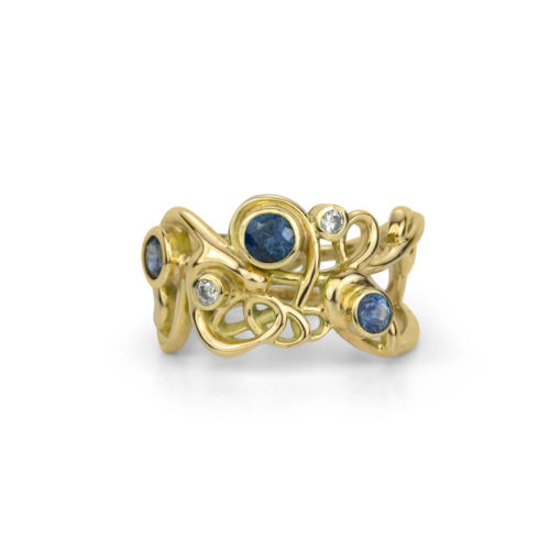 One-of-a-Kind Handmade Script Ring in 18K Gold with Diamonds and Sapphires