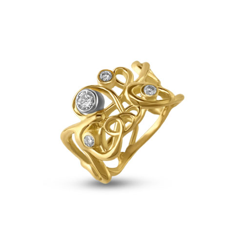 18k yellow gold script ring, studded with diamonds