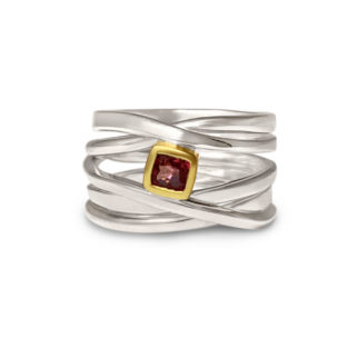 Sterling silver OneFooter with cushion spinel set in 18k gold