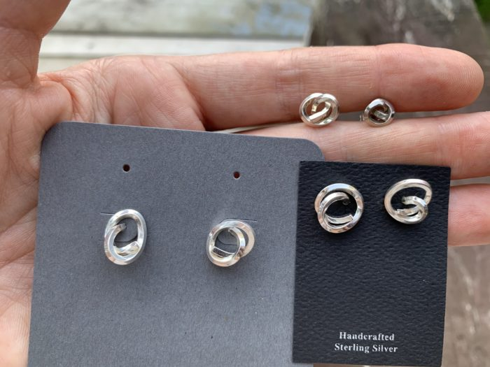 Dorothee Rosen Handmade Sterling Silver Knot Earrings Size Comparison