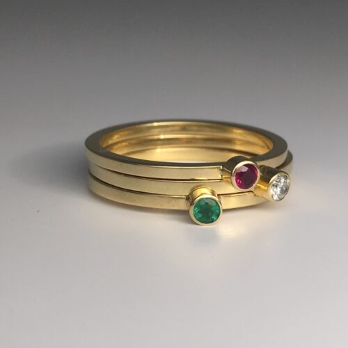 DorotheeRosen-Birthstone-Ring-18k-Yellow-Gold-Diamond-Ruby-Emerald-Stacker-1