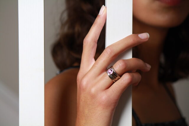 palladium white gold ring with pink spinel