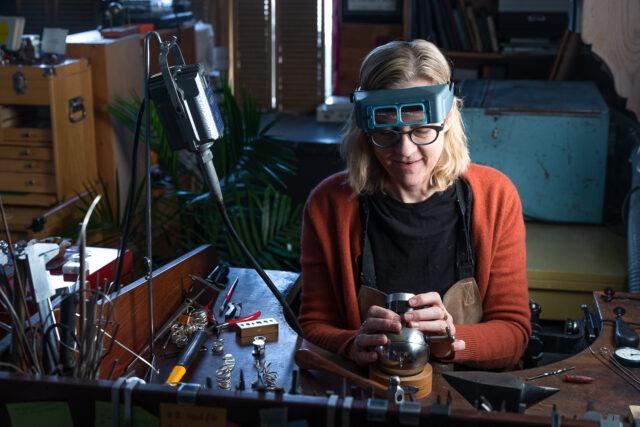 Dorothee making handmade jewellery in her Halifax studio