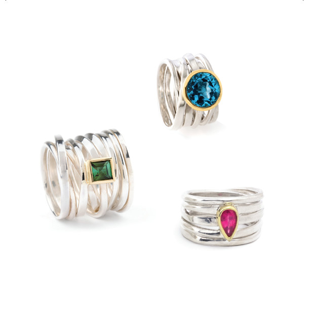 Dorothee Rosen Lookbook Sterling Silver Rings with Gems One of a Kind
