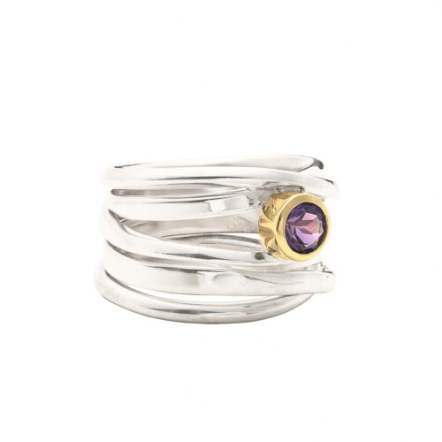 Sterling Silver one of a kind ring with amethyst size 7