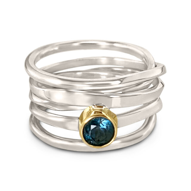 One-of-a-Kind #317 || Sterling OneFooter Ring with Topaz in 18k yellow gold bezel setting, Size 8 handmade by Dorothee Rosen