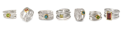 Dorothee Rosen Sterling Silver One of a Kind Rings with Gems Bling