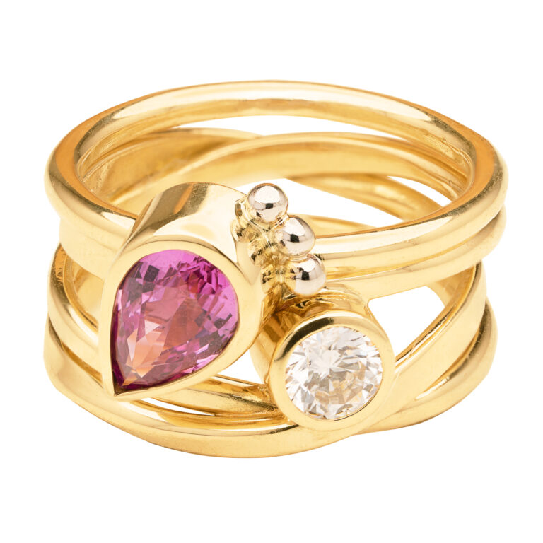 Custom Gold Ring with Diamond and Sapphire