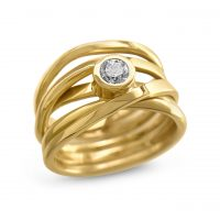 #251 One-of-a-kind Onefooter Ring in 18K Yellow Gold Size 7.25 with Canadian 0.28 Diamond